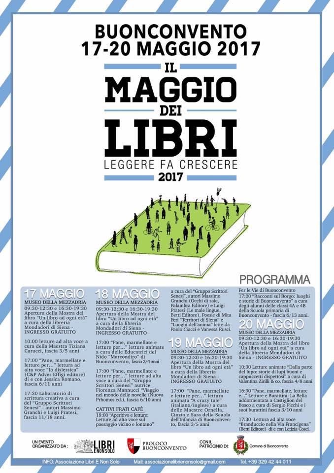 Qual è il programma del Maggio dei Libri a Buonconvento?